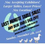 Last Minute Table Sale!! Save $65 on any blue table.